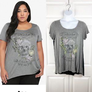 French Skull Graphic Hi-Lo Tee